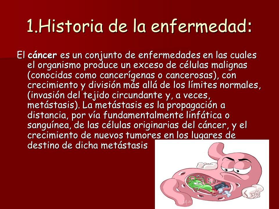 1.Historia de la enfermedad : El cáncer es un conjunto de enfermedades en las cuales el organismo produce un exceso de células malignas (conocidas com
