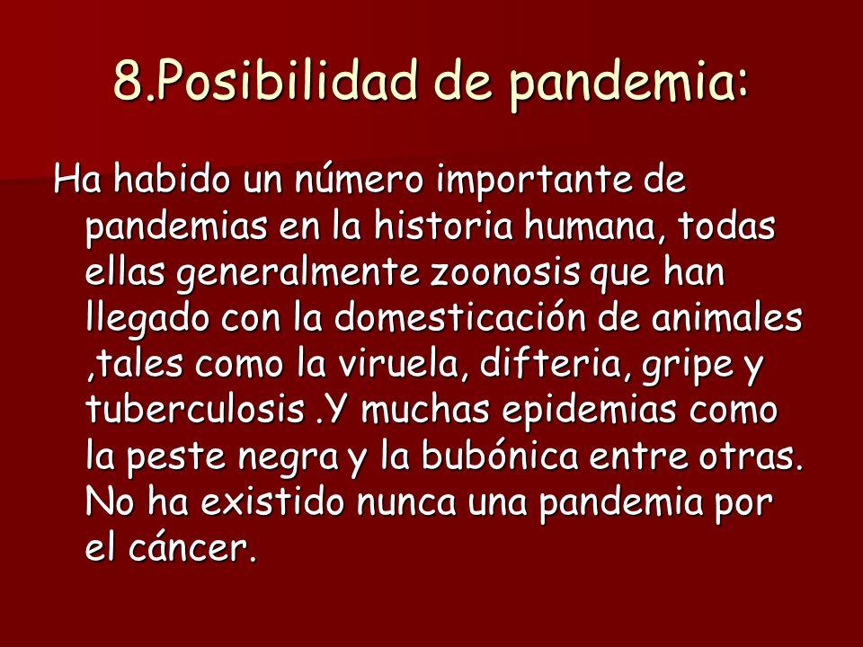 8.Posibilidad de pandemia: Ha habido un número importante de pandemias en la historia humana, todas ellas generalmente zoonosis que han llegado con la