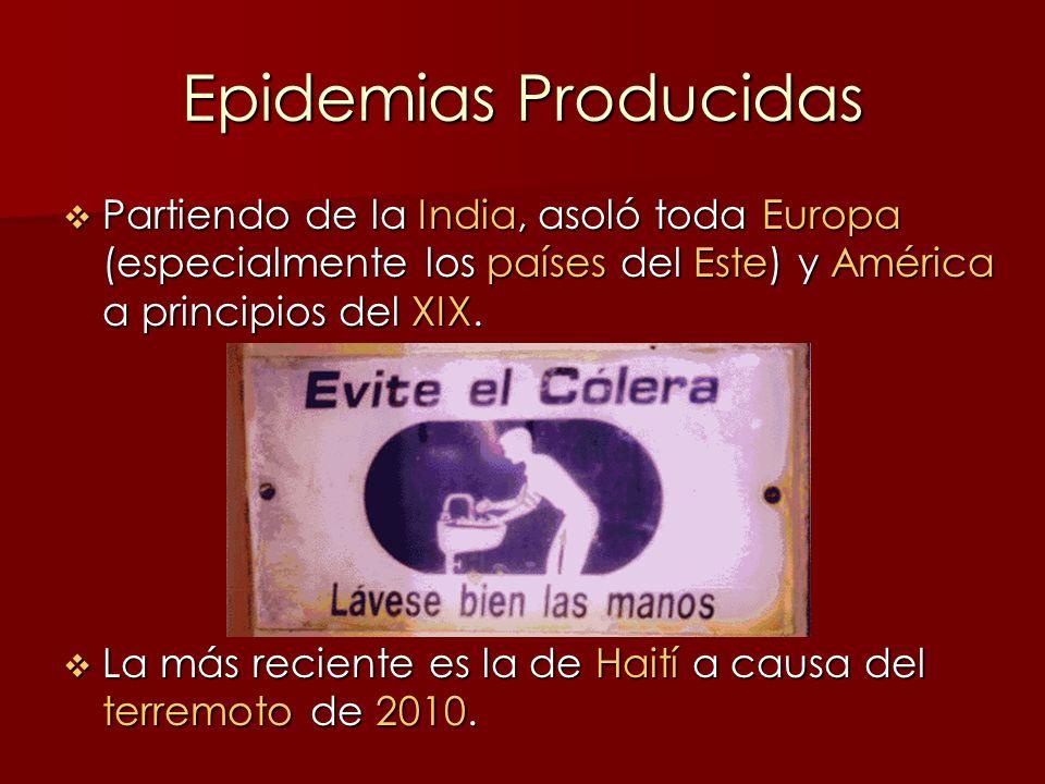 Epidemias Producidas Partiendo de la India, asoló toda Europa (especialmente los países del Este) y América a principios del XIX. Partiendo de la Indi