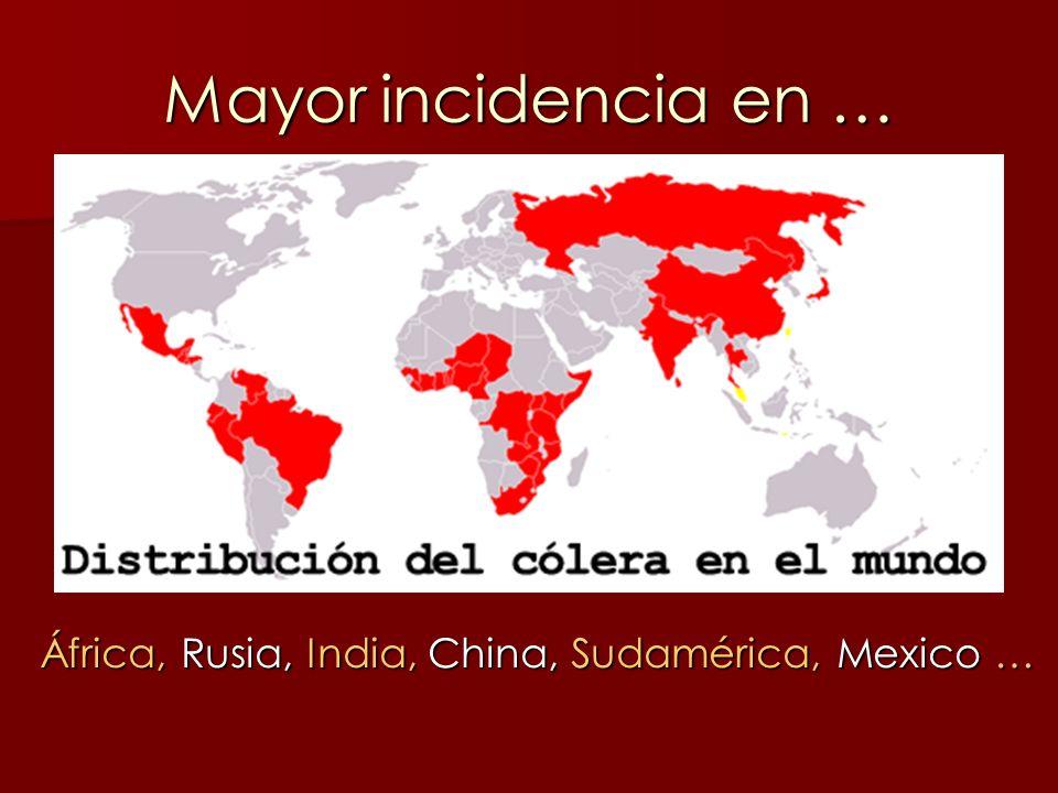 Mayor incidencia en … África, Rusia, India, China, Sudamérica, Mexico …