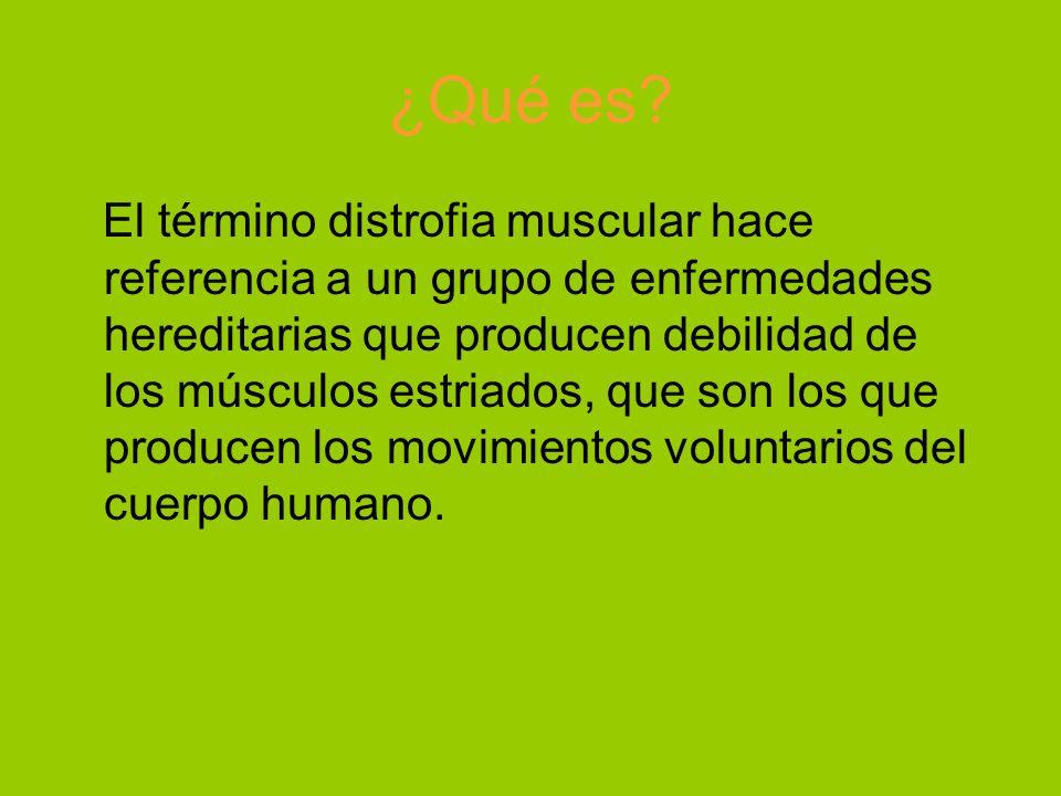 ¿Qué es? El término distrofia muscular hace referencia a un grupo de enfermedades hereditarias que producen debilidad de los músculos estriados, que s
