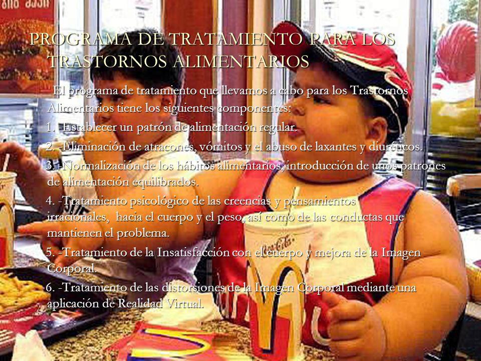 PROGRAMA DE TRATAMIENTO PARA LOS TRASTORNOS ALIMENTARIOS El programa de tratamiento que llevamos a cabo para los Trastornos Alimentarios tiene los sig