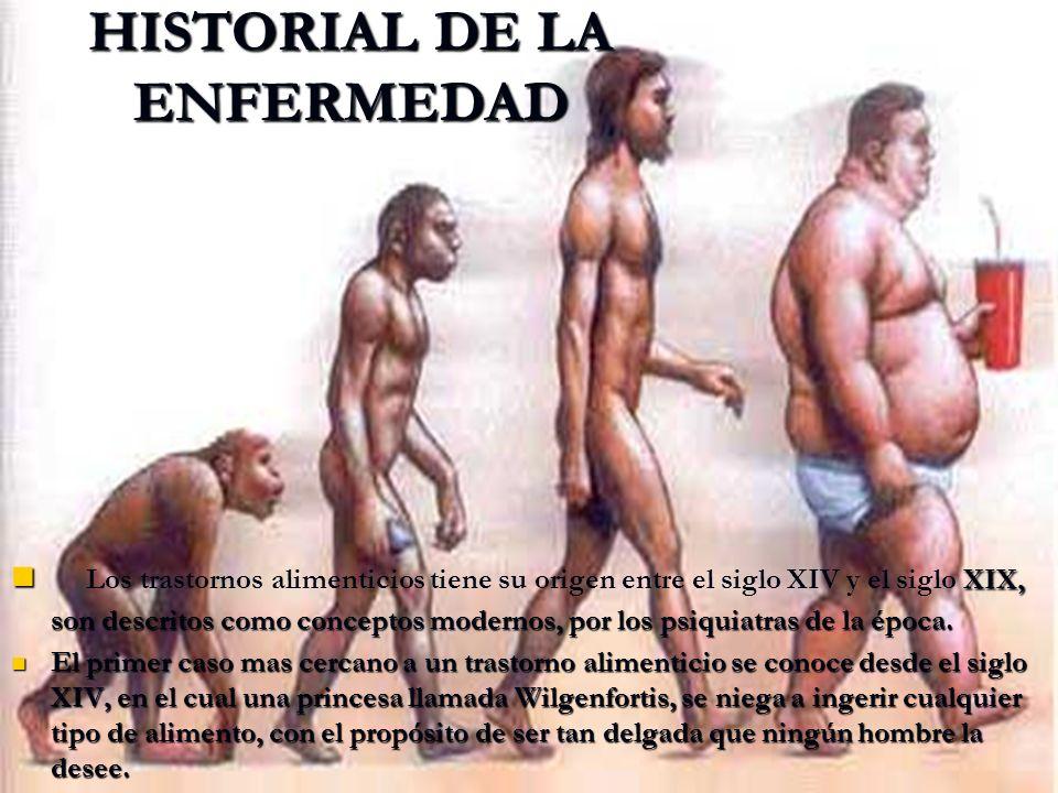 HISTORIAL DE LA ENFERMEDAD XIX, son descritos como conceptos modernos, por los psiquiatras de la época. Los trastornos alimenticios tiene su origen en