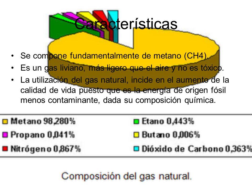 Características Se compone fundamentalmente de metano (CH4). Es un gas liviano, más ligero que el aire y no es tóxico. La utilización del gas natural,