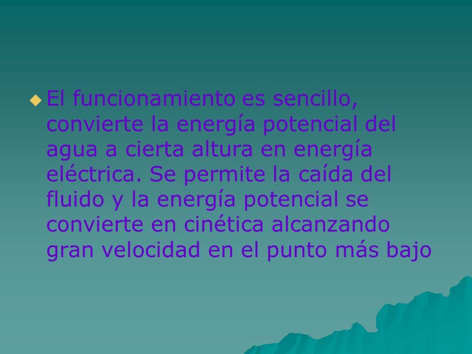 El funcionamiento es sencillo, convierte la energía potencial del agua a cierta altura en energía eléctrica. Se permite la caída del fluido y la energ