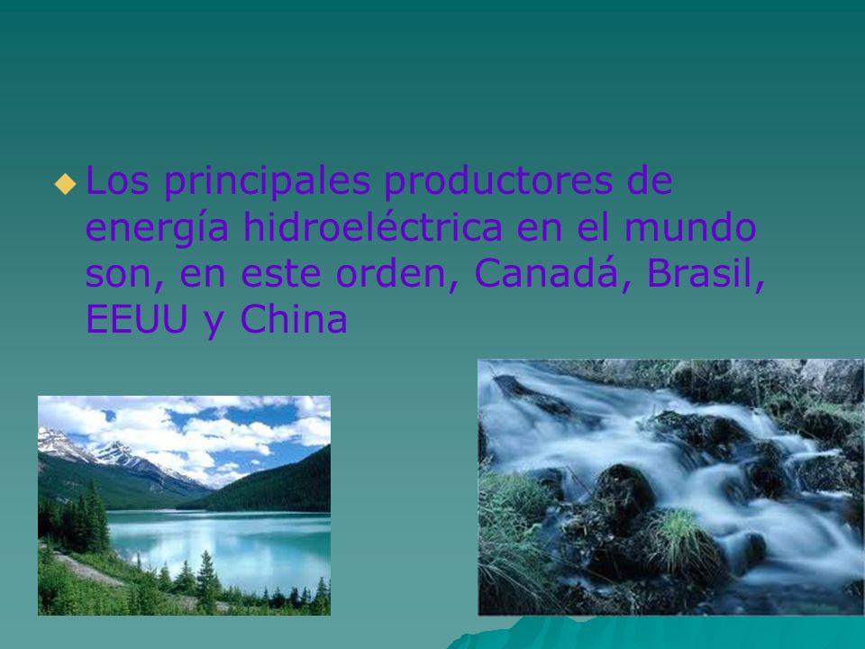 Los principales productores de energía hidroeléctrica en el mundo son, en este orden, Canadá, Brasil, EEUU y China