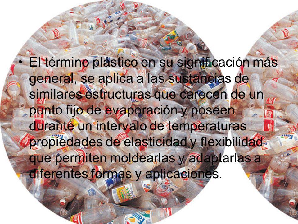 El término plástico en su significación más general, se aplica a las sustancias de similares estructuras que carecen de un punto fijo de evaporación y