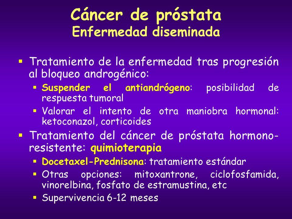 Cáncer de próstata Enfermedad diseminada Tratamiento de la enfermedad tras progresión al bloqueo androgénico: Suspender el antiandrógeno: posibilidad