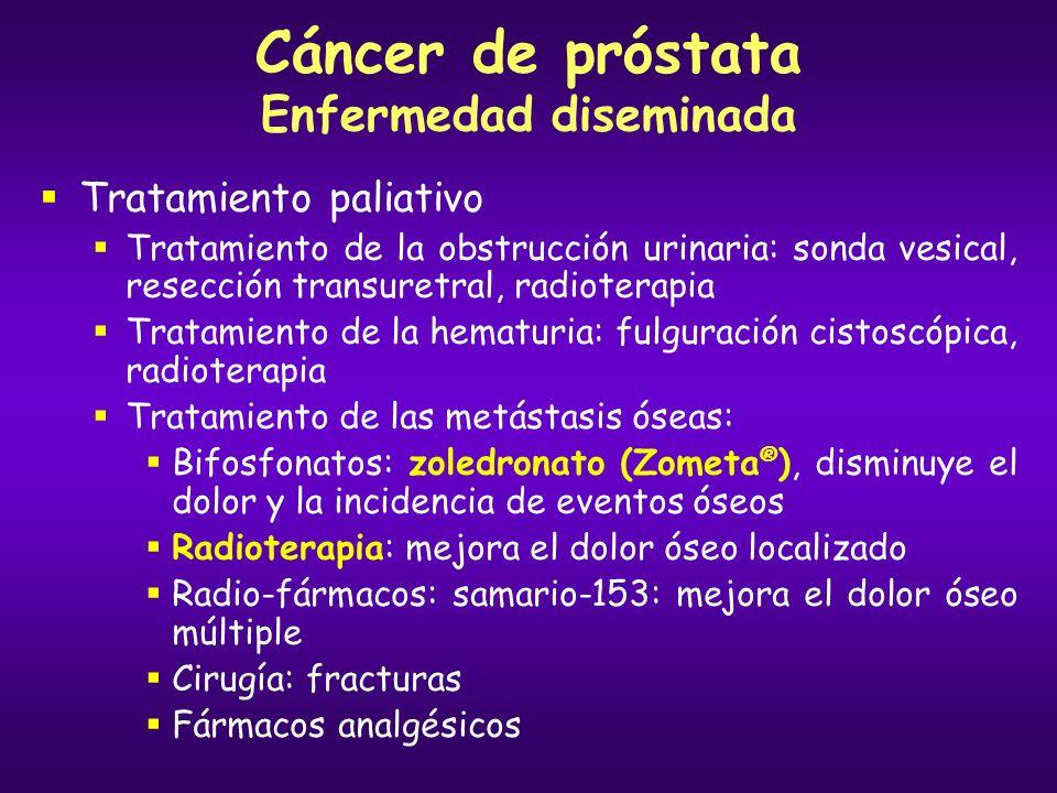 Cáncer de próstata Enfermedad diseminada Tratamiento paliativo Tratamiento de la obstrucción urinaria: sonda vesical, resección transuretral, radioter