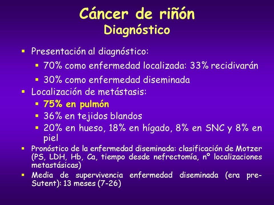 Cáncer de riñón Diagnóstico Presentación al diagnóstico: 70% como enfermedad localizada: 33% recidivarán 30% como enfermedad diseminada Localización d
