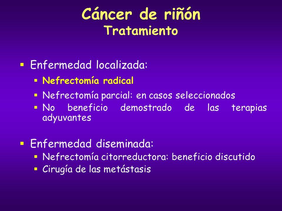 Cáncer de riñón Tratamiento Enfermedad localizada: Nefrectomía radical Nefrectomía parcial: en casos seleccionados No beneficio demostrado de las tera