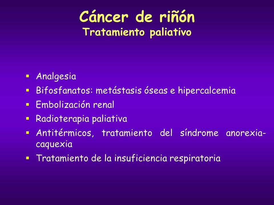 Cáncer de riñón Tratamiento paliativo Analgesia Bifosfanatos: metástasis óseas e hipercalcemia Embolización renal Radioterapia paliativa Antitérmicos,