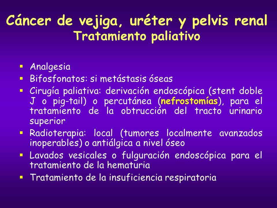 Cáncer de vejiga, uréter y pelvis renal Tratamiento paliativo Analgesia Bifosfonatos: si metástasis óseas Cirugía paliativa: derivación endoscópica (s