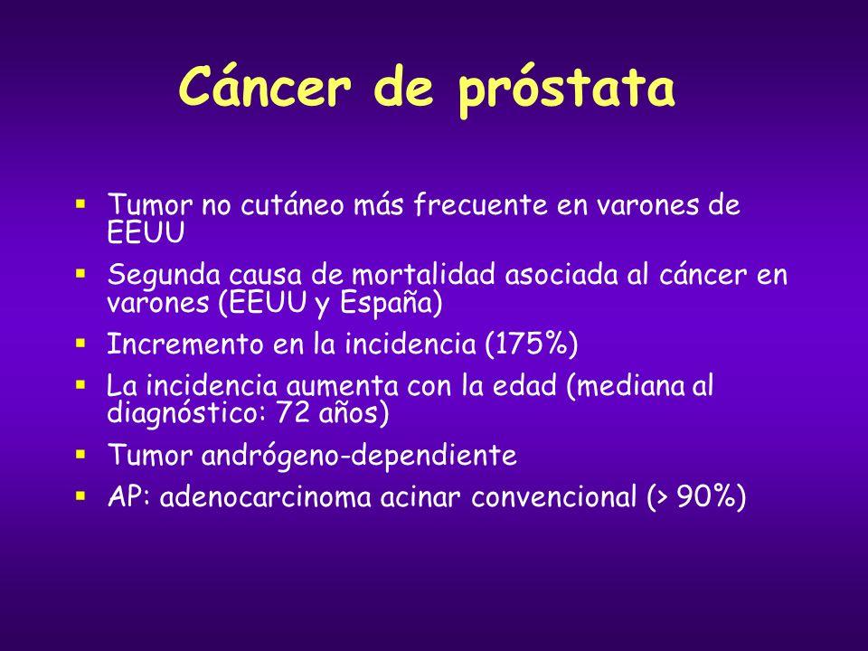 Cáncer de próstata Enfermedad localizada Clínica: Asintomático o síndrome miccional Factores pronósticos: PSA Puntuación de Gleason: grado histológico Extensión tumoral (T1, T2 o T3) Tratamiento: Riesgo bajo-intermedio ( T1-2, PSA < 20, Gleason < 7 ): prostatectomía, radioterapia u observación Riesgo alto (T3a, PSA > 20 o Gleason > 8): radioterapia + hormonoterapia o prostatectomía