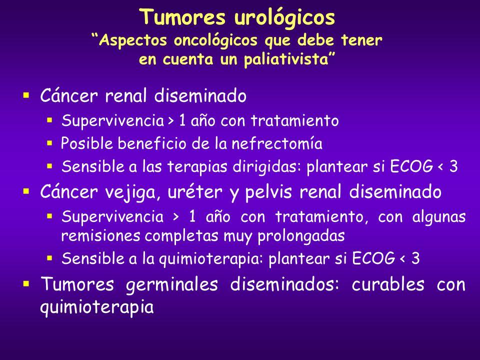 Tumores urológicos Aspectos oncológicos que debe tener en cuenta un paliativista Cáncer renal diseminado Supervivencia > 1 año con tratamiento Posible