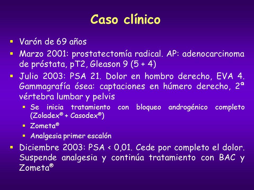 Caso clínico Varón de 69 años Marzo 2001: prostatectomía radical. AP: adenocarcinoma de próstata, pT2, Gleason 9 (5 + 4) Julio 2003: PSA 21. Dolor en