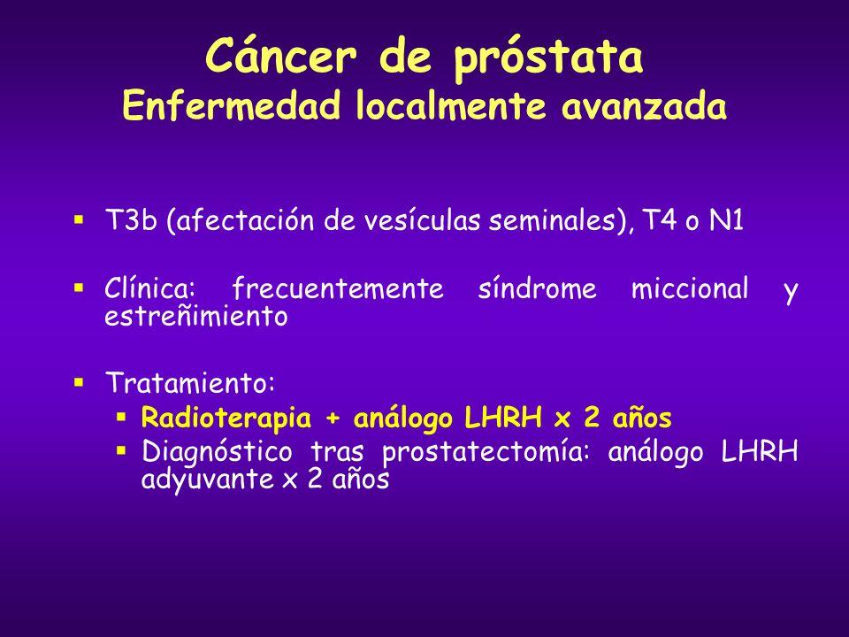 Cáncer de próstata Enfermedad diseminada Un 30% de los pacientes con carcinoma de próstata presentan metástasis en el momento del diagnóstico Un 25%-30% de los diagnosticados en estadios localizados desarrollarán metástasis Patrón de diseminación: Local: cápsula prostática, vejiga, vesículas seminales, recto Regional: ganglionar pélvica A distancia: hueso (columna, fémur y pelvis), pulmón, hígado En el 85% de los pacientes la afectación metastásica se limita al hueso Supervivencia media: 2,5 años