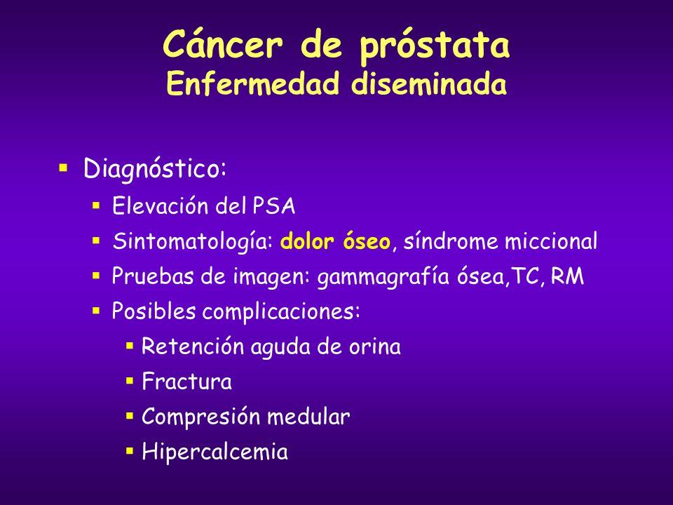 Cáncer de próstata Enfermedad diseminada Tratamiento inicial: hormonoterapia Objetivo: deprivación de la estimulación androgénica Opciones: Bloqueo androgénico completo: análogo de LHRH + antiandrógeno Castración química: análogos LHRH Castración quirúrgica: orquiectomía bilateral Antiandrógenos 2ª-3ª líneas: ketoconazol, estrógenos, corticoides