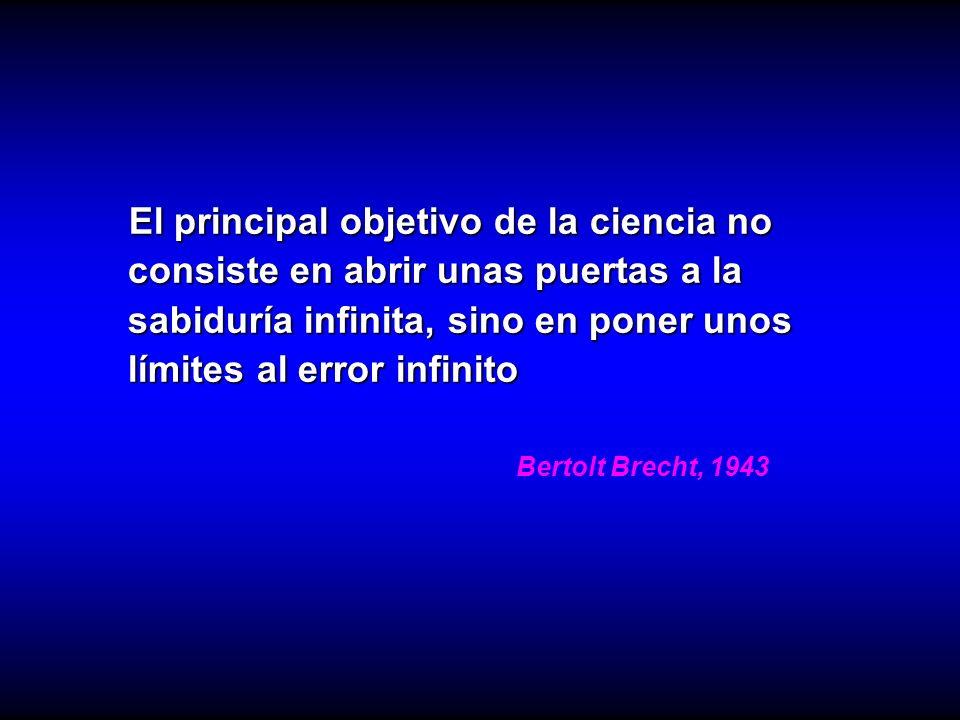 El principal objetivo de la ciencia no consiste en abrir unas puertas a la sabiduría infinita, sino en poner unos límites al error infinito El princip