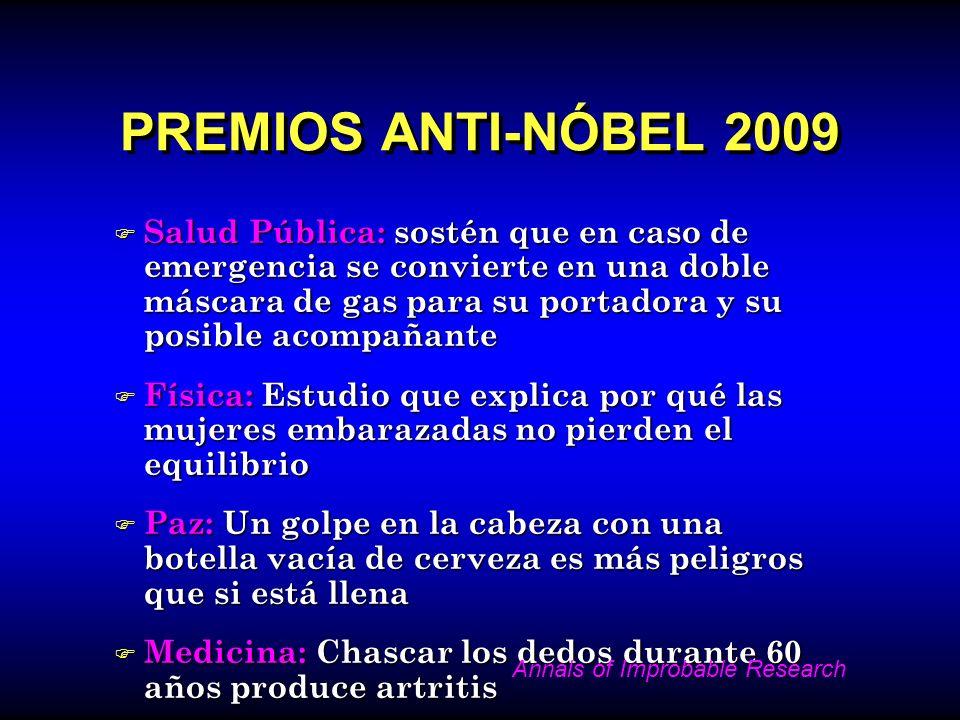 PREMIOS ANTI-NÓBEL 2009 F Salud Pública: sostén que en caso de emergencia se convierte en una doble máscara de gas para su portadora y su posible acom