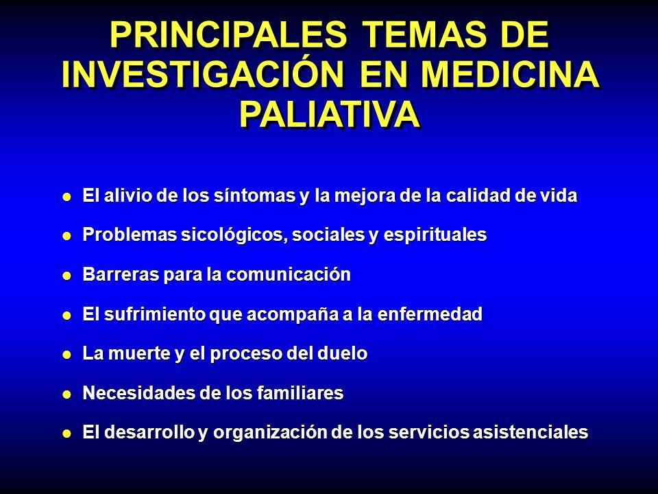 PRINCIPALES TEMAS DE INVESTIGACIÓN EN MEDICINA PALIATIVA El alivio de los síntomas y la mejora de la calidad de vida El alivio de los síntomas y la me