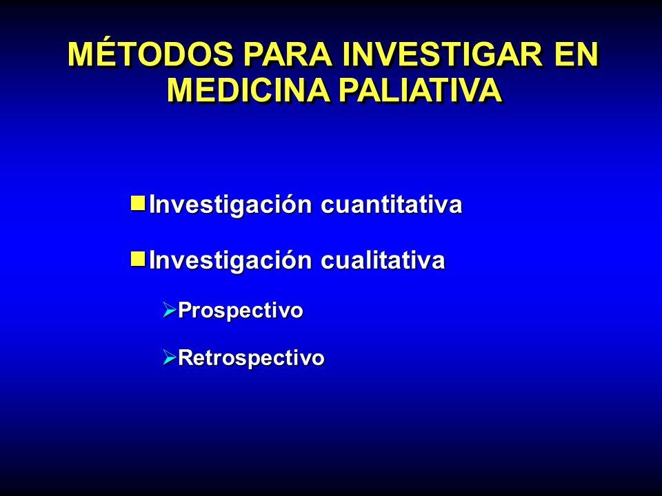 MÉTODOS PARA INVESTIGAR EN MEDICINA PALIATIVA Investigación cuantitativa Investigación cuantitativa Investigación cualitativa Investigación cualitativ