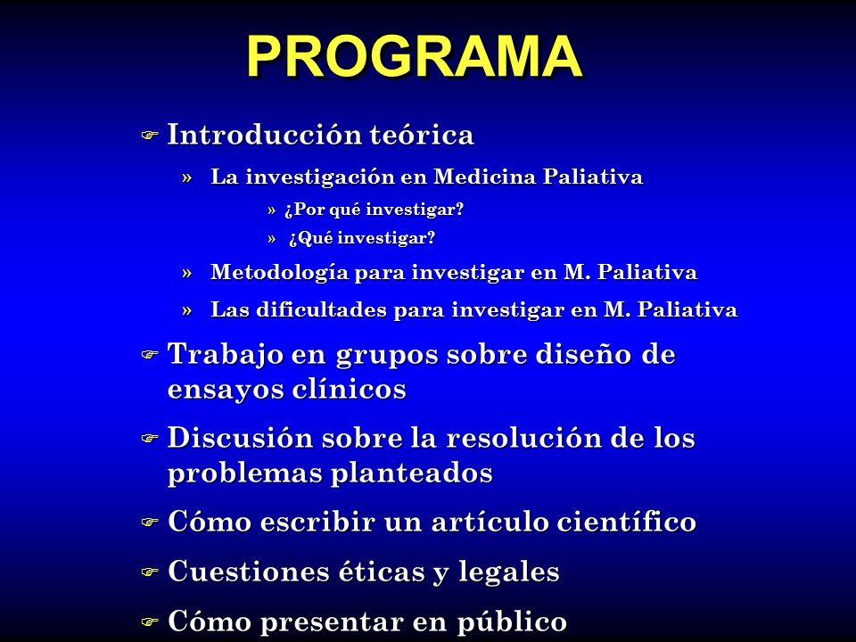 PROGRAMA F Introducción teórica » La investigación en Medicina Paliativa » ¿Por qué investigar? » ¿Qué investigar? » Metodología para investigar en M.