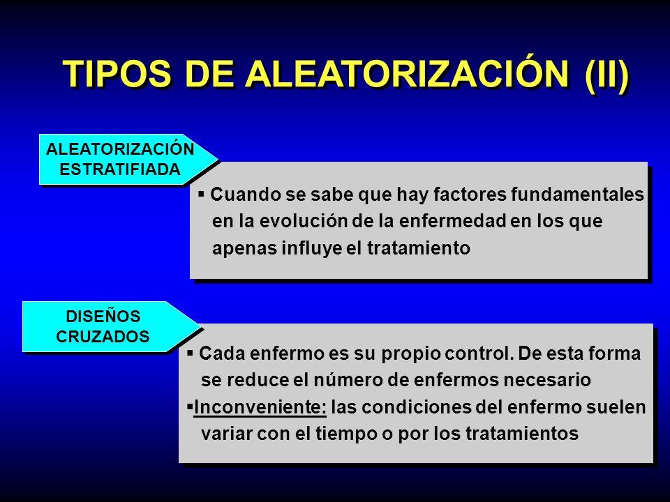 TIPOS DE ALEATORIZACIÓN (II) Cuando se sabe que hay factores fundamentales en la evolución de la enfermedad en los que apenas influye el tratamiento C