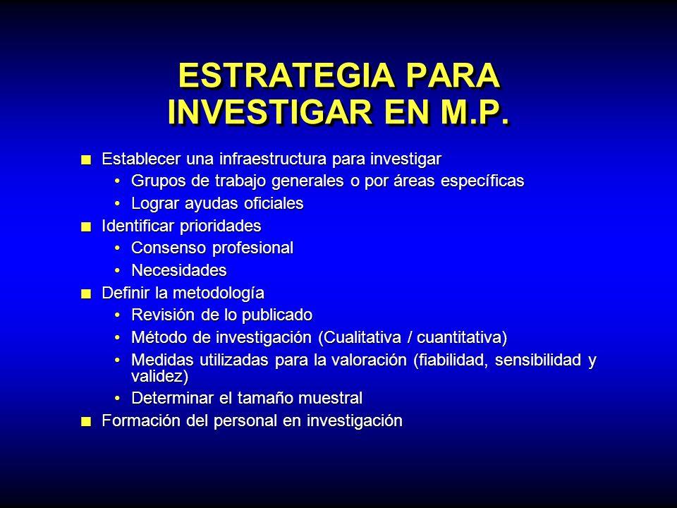 ESTRATEGIA PARA INVESTIGAR EN M.P. Establecer una infraestructura para investigar Establecer una infraestructura para investigar Grupos de trabajo gen