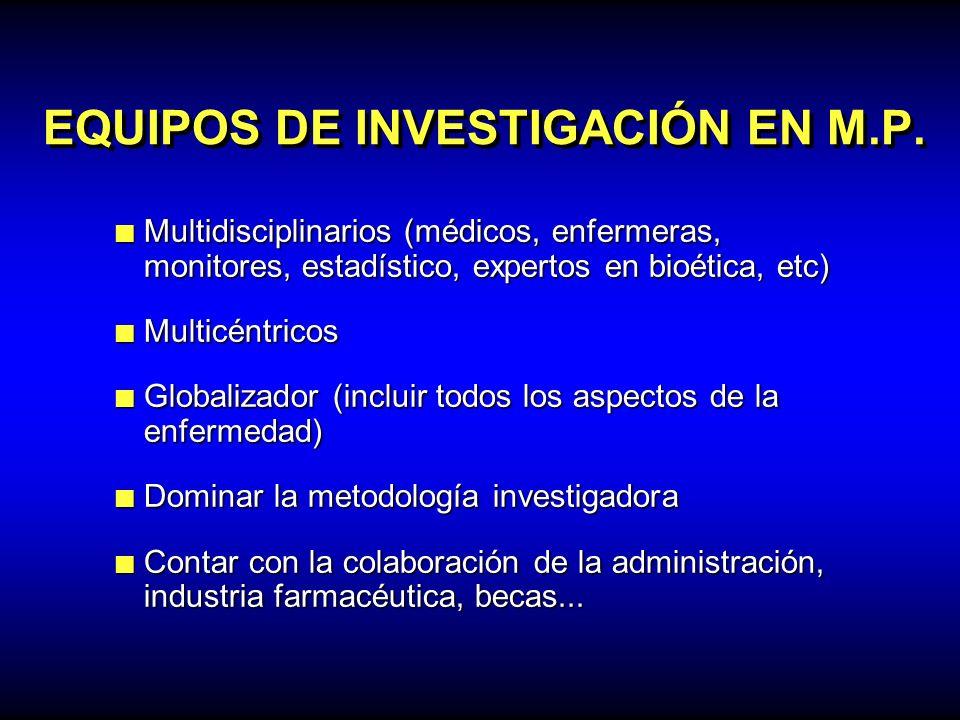 EQUIPOS DE INVESTIGACIÓN EN M.P. Multidisciplinarios (médicos, enfermeras, monitores, estadístico, expertos en bioética, etc) Multidisciplinarios (méd