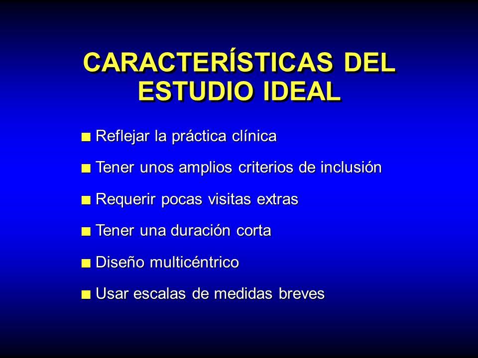 CARACTERÍSTICAS DEL ESTUDIO IDEAL Reflejar la práctica clínica Reflejar la práctica clínica Tener unos amplios criterios de inclusión Tener unos ampli