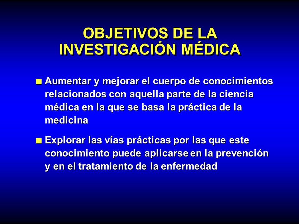 OBJETIVOS DE LA INVESTIGACIÓN MÉDICA Aumentar y mejorar el cuerpo de conocimientos relacionados con aquella parte de la ciencia médica en la que se ba