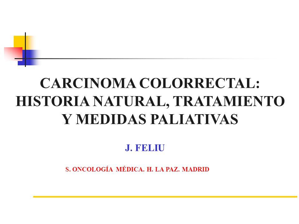 CARCINOMA COLORRECTAL: HISTORIA NATURAL, TRATAMIENTO Y MEDIDAS PALIATIVAS J. FELIU S. ONCOLOGÍA MÉDICA. H. LA PAZ. MADRID