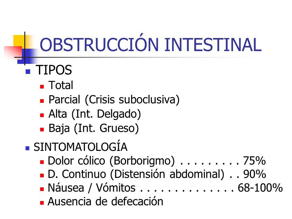OBSTRUCCIÓN INTESTINAL TIPOS Total Parcial (Crisis suboclusiva) Alta (Int. Delgado) Baja (Int. Grueso) SINTOMATOLOGÍA Dolor cólico (Borborigmo).......