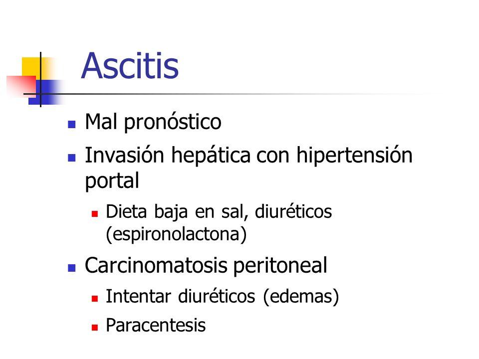 Ascitis Mal pronóstico Invasión hepática con hipertensión portal Dieta baja en sal, diuréticos (espironolactona) Carcinomatosis peritoneal Intentar di