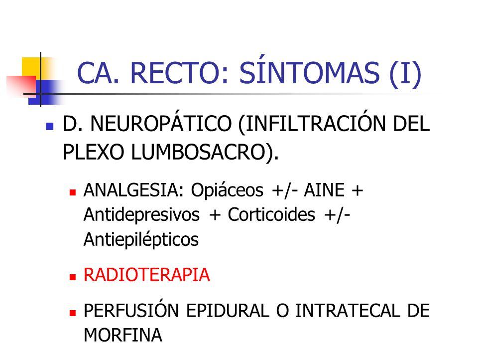 CA. RECTO: SÍNTOMAS (I) D. NEUROPÁTICO (INFILTRACIÓN DEL PLEXO LUMBOSACRO). ANALGESIA: Opiáceos +/- AINE + Antidepresivos + Corticoides +/- Antiepilép