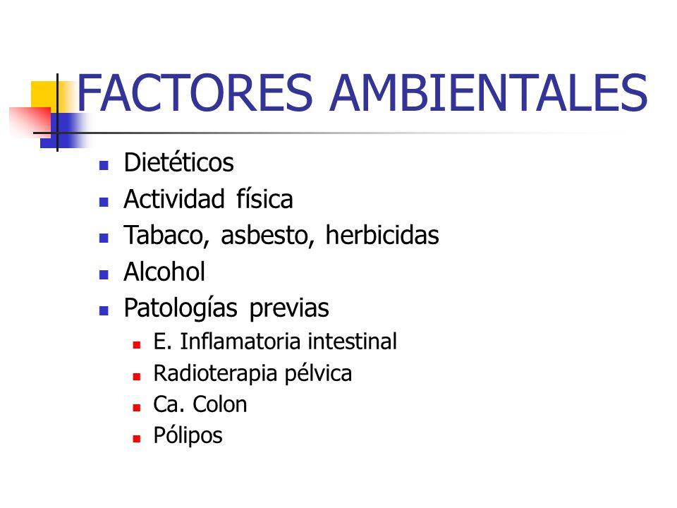 FACTORES AMBIENTALES Dietéticos Actividad física Tabaco, asbesto, herbicidas Alcohol Patologías previas E. Inflamatoria intestinal Radioterapia pélvic