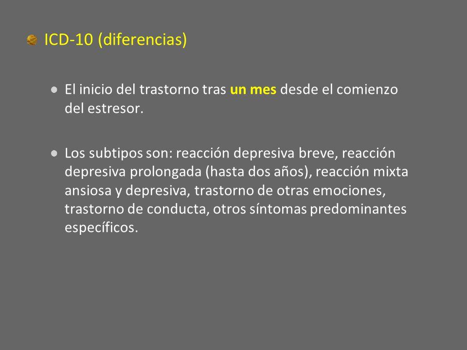 ICD-10 (diferencias) El inicio del trastorno tras un mes desde el comienzo del estresor. Los subtipos son: reacción depresiva breve, reacción depresiv