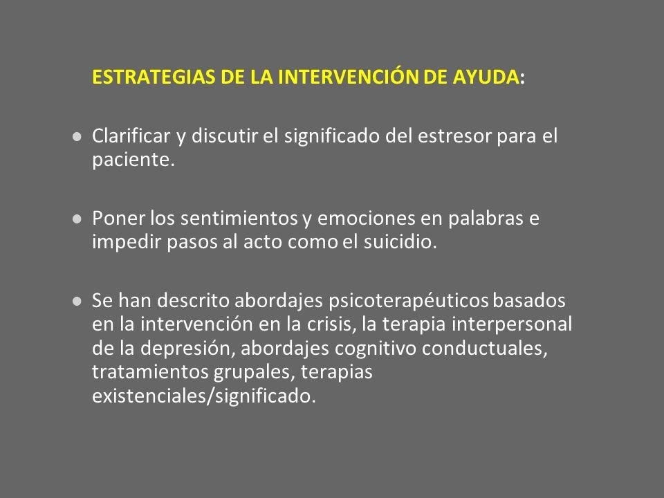 ESTRATEGIAS DE LA INTERVENCIÓN DE AYUDA: Clarificar y discutir el significado del estresor para el paciente. Poner los sentimientos y emociones en pal