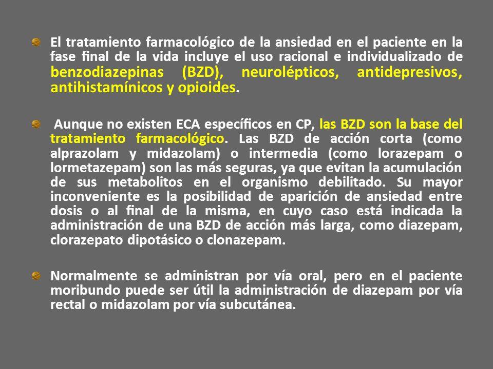 El tratamiento farmacológico de la ansiedad en el paciente en la fase nal de la vida incluye el uso racional e individualizado de benzodiazepinas (BZD