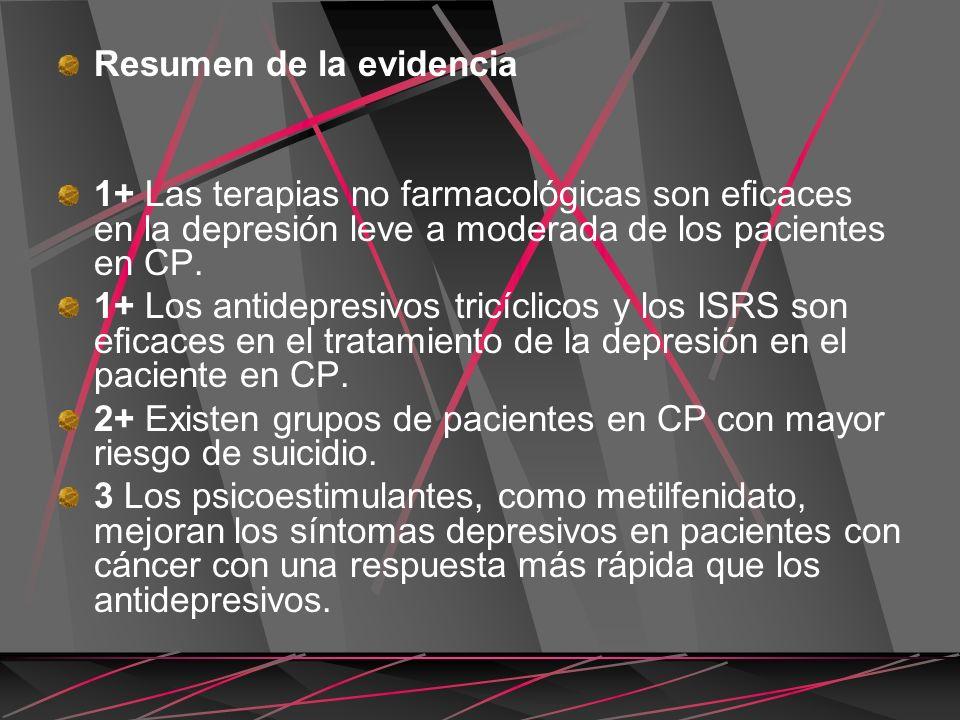 Resumen de la evidencia 1+ Las terapias no farmacológicas son ecaces en la depresión leve a moderada de los pacientes en CP. 1+ Los antidepresivos tri