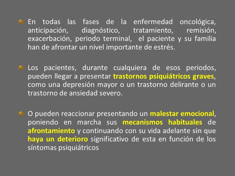 En todas las fases de la enfermedad oncológica, anticipación, diagnóstico, tratamiento, remisión, exacerbación, periodo terminal, el paciente y su fam