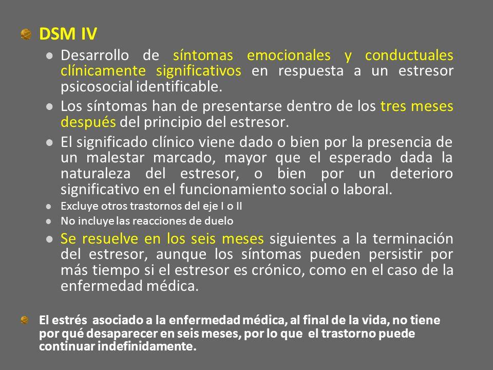 DSM IV Desarrollo de síntomas emocionales y conductuales clínicamente significativos en respuesta a un estresor psicosocial identificable. Los síntoma