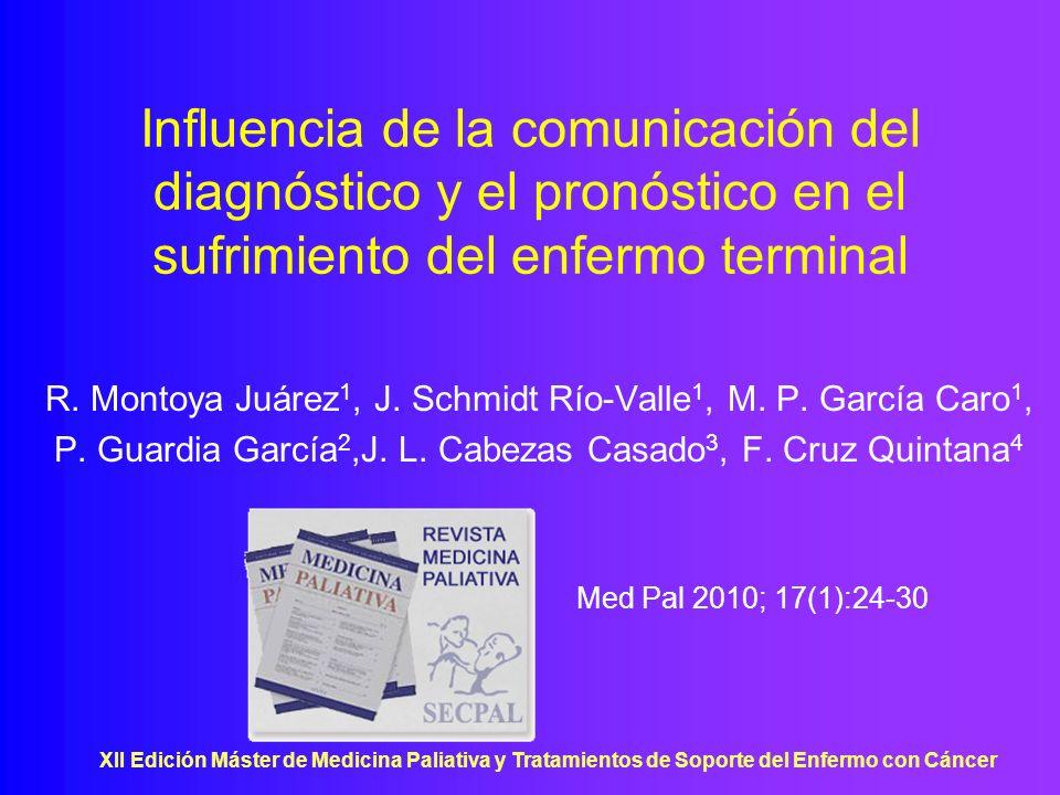 XII Edición Máster de Medicina Paliativa y Tratamientos de Soporte del Enfermo con Cáncer Influencia de la comunicación del diagnóstico y el pronóstic