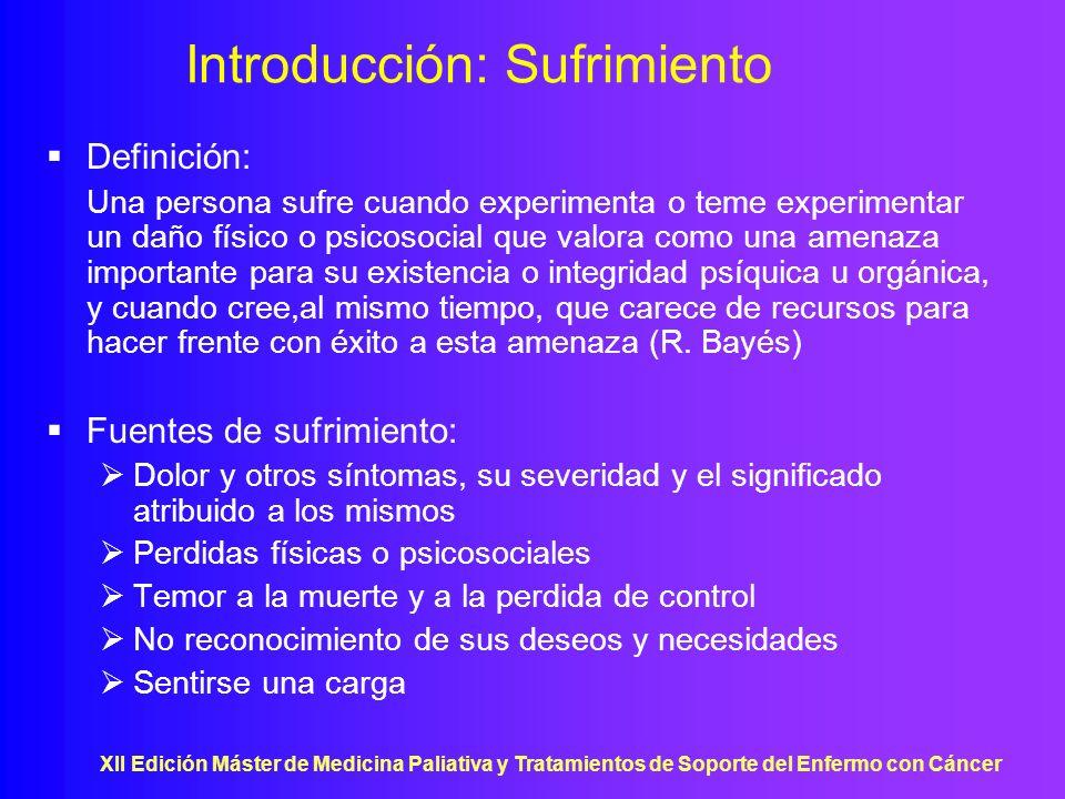XII Edición Máster de Medicina Paliativa y Tratamientos de Soporte del Enfermo con Cáncer Introducción: Sufrimiento Definición: Una persona sufre cuan