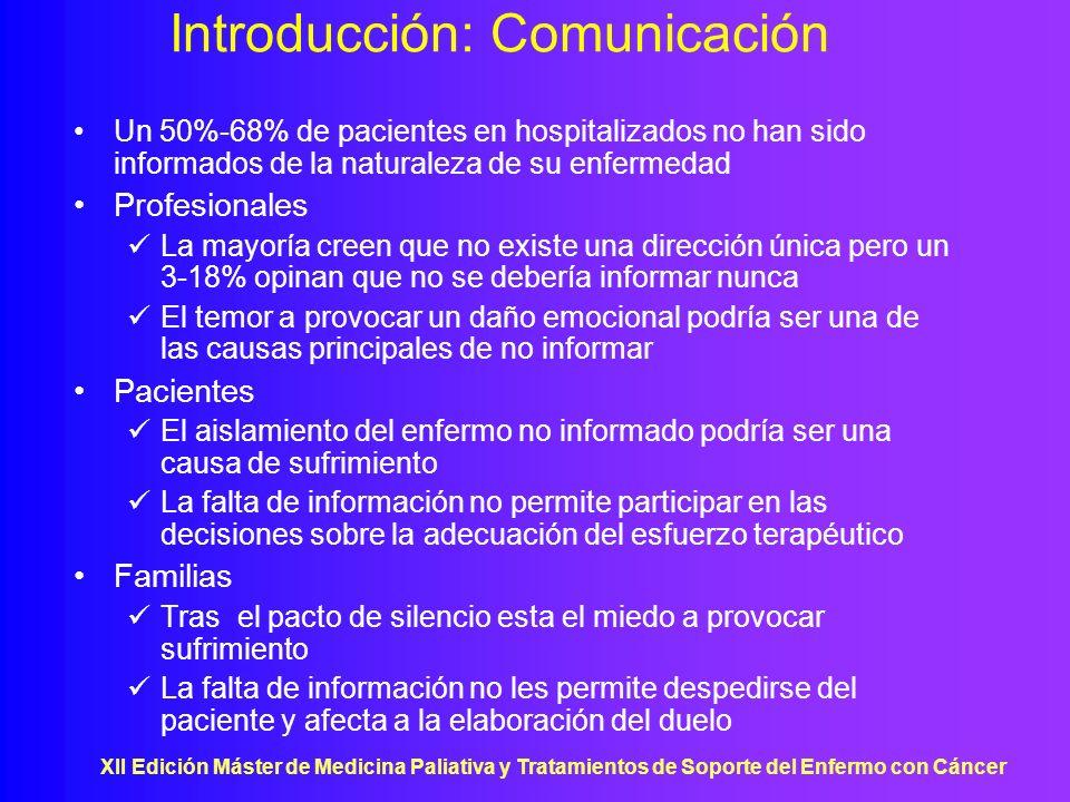 XII Edición Máster de Medicina Paliativa y Tratamientos de Soporte del Enfermo con Cáncer Introducción: Comunicación Un 50%-68% de pacientes en hospit