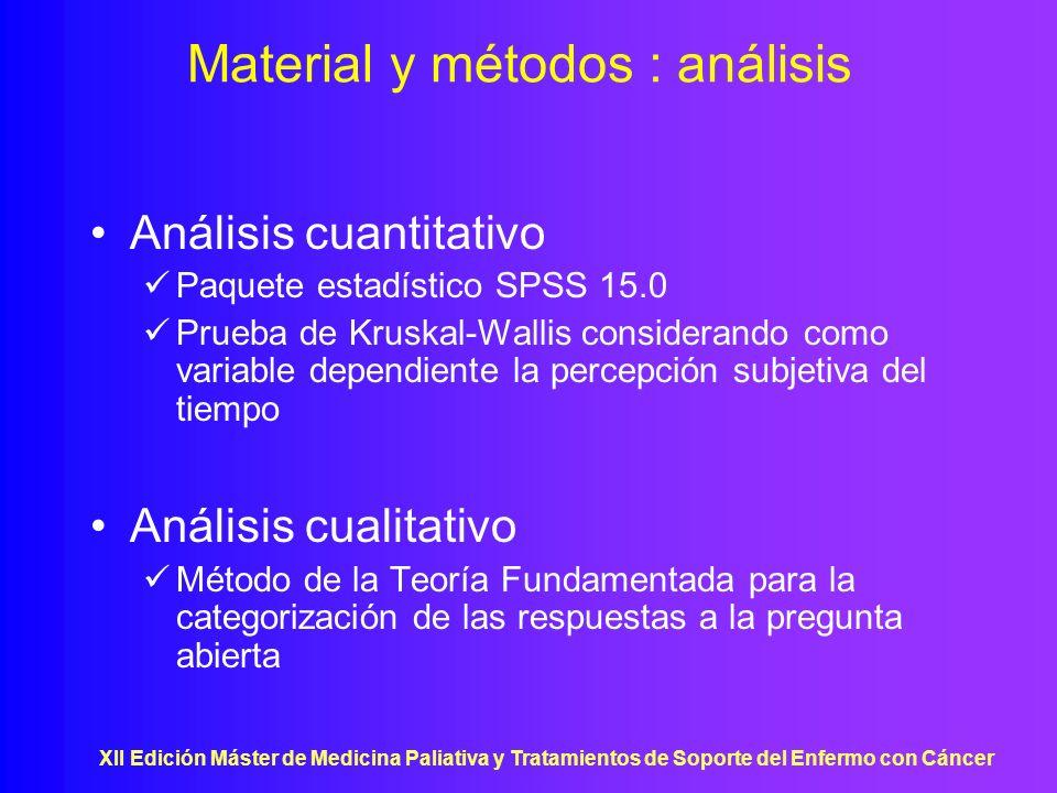 XII Edición Máster de Medicina Paliativa y Tratamientos de Soporte del Enfermo con Cáncer Material y métodos : análisis Análisis cuantitativo Paquete