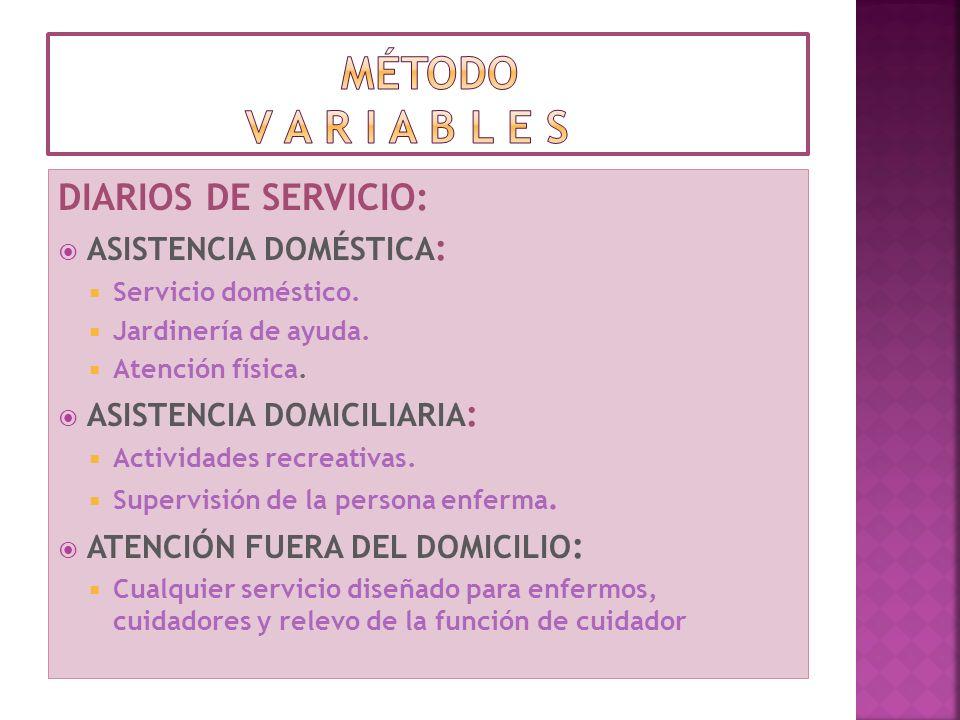 DIARIOS DE SERVICIO: ASISTENCIA DOMÉSTICA : Servicio doméstico. Jardinería de ayuda. Atención física. ASISTENCIA DOMICILIARIA : Actividades recreativa