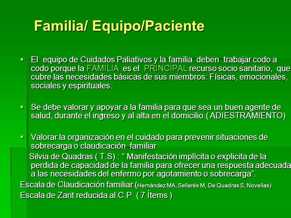 Familia/ Equipo/Paciente El equipo de Cuidados Paliativos y la familia deben trabajar codo a codo porque la FAMILIA es el PRINCIPAL recurso socio sani