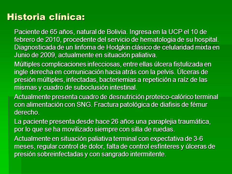 Historia clínica: Paciente de 65 años, natural de Bolivia.